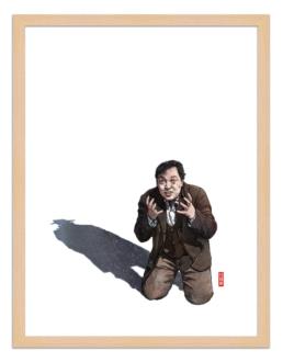 Figures du cinéma - illustration - cadre bois - M