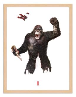 Figures du cinéma - illustration - cadre bois - King kong
