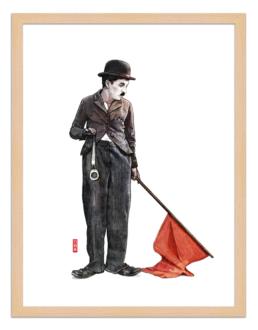Figures du cinéma - illustration - cadre bois - Charlie