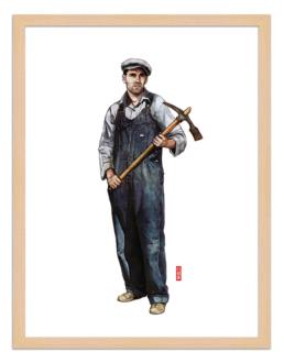 Figures du cinéma - illustration - cadre bois - Tom