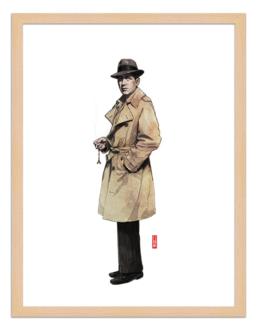 Figures du cinéma - illustration - cadre bois - Rick