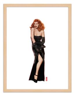 Figures du cinéma - illustration - cadre bois - Gilda