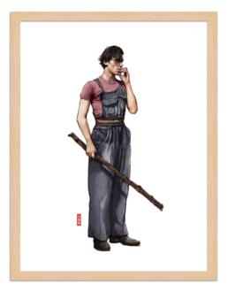 Figures du cinéma - illustration - cadre bois - Jaibo
