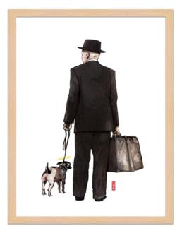 Figures du cinéma - illustration - cadre bois - Umberto D
