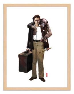 Figures du cinéma - illustration - cadre bois - Frankie