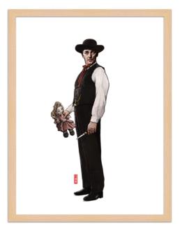 Figures du cinéma - illustration - cadre bois - Harry
