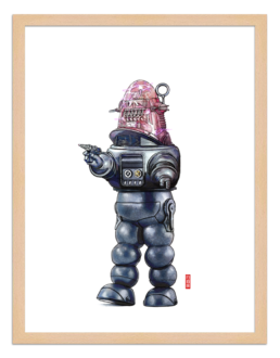 Figures du cinéma - illustration - cadre bois - Robby