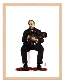 Figures du cinéma - illustration - cadre bois - Vito