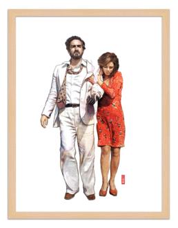 Figures du cinéma - illustration - cadre bois - Fausto e Sara