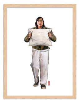 Figures du cinéma - illustration - cadre bois - Chief