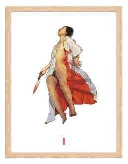 Figures du cinéma - illustration - cadre bois - Abe