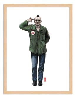 Figures du cinéma - illustration - cadre bois - Travis