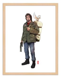 Figures du cinéma - illustration - cadre bois - Rambo