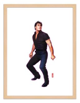 Figures du cinéma - illustration - cadre bois - Johny