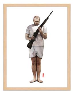 Figures du cinéma - illustration - cadre bois - Leonard