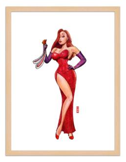 Figures du cinéma - illustration - cadre bois - Jessica