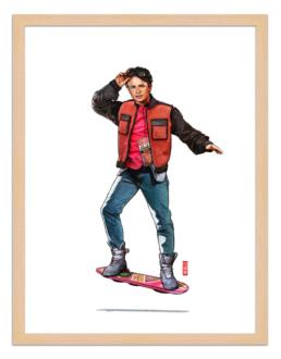 Figures du cinéma - illustration - cadre bois - Marty