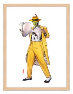 Figures du cinéma - illustration - cadre bois - Mask