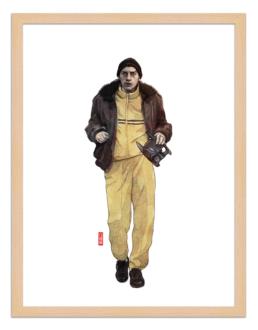Figures du cinéma - illustration - cadre bois - Said