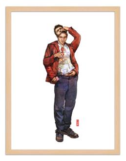 Figures du cinéma - illustration - cadre bois - Tyler