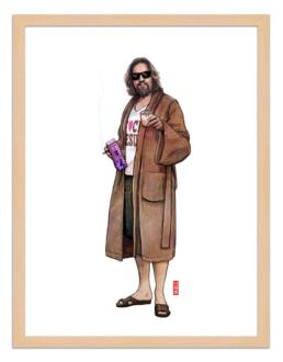 Figures du cinéma - illustration - cadre bois - Geoffrey