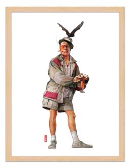 Figures du cinéma - illustration - cadre bois - Raoul