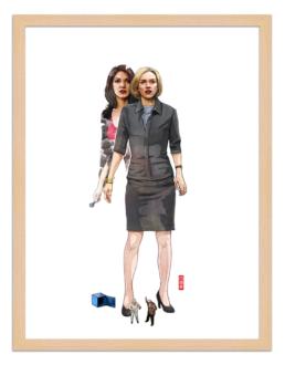 Figures du cinéma - illustration - cadre bois - Betty et Rita