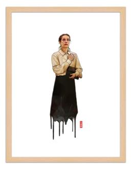 Figures du cinéma - illustration - cadre bois - Erika