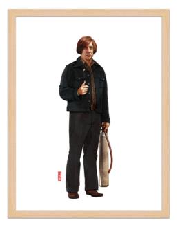 Figures du cinéma - illustration - cadre bois - Anton