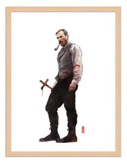 Figures du cinéma - illustration - cadre bois - Daniel