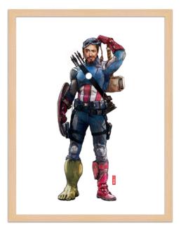 Figures du cinéma - illustration - cadre bois - Captain Starck