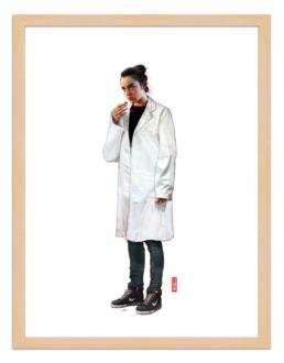 Figures du cinéma - illustracion - marco de madera - Justine